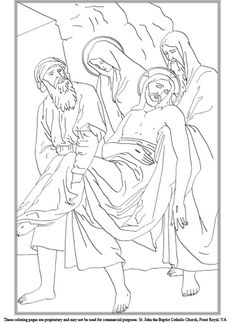 Fourteenth Station of the Cross Coloring Page School Coloring Pages, Coloring Book Pages, Cross Coloring Page, Banner Drawing, Line Art Vector, Vector Portrait, Bible Stories, Easy Drawings, Painting Inspiration