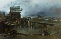 """Amenaza de naufragio"" (1894). Obra de José Navarro Llorens (1867-1923). Museo Carmen Thyssen. /// ""Threat of shipwreck"" (1894). Work by José Navarro Llorens (1867-1923). Museo Carmen Thyssen."