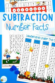 Subtraction games help students learn the subtraction strategies. Practice the mental math strategies of counting back, using doubles, subtracting nine and much more. Perfect for first grade and second grade students. #subtraction #subtractiongames