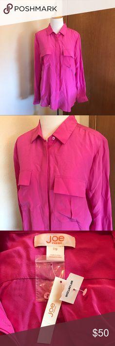 NWT Joe Fresh Hot Pink Silk Blouse Size Large Gorgeous hot pink blouse! 100% Silk Make an offer! Joe Fresh Tops Blouses