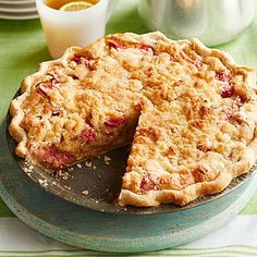 Peoria Rhubarb Cream Pie : Who needs strawberries? Rhubarb shines alone in this wonderfully old-fashioned streusel-topped pie. Recipe: http://www.midwestliving.com/recipe/pies/peoria-rhubarb-cream-pie/