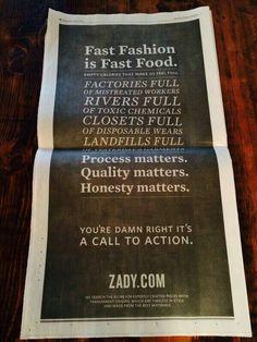Process matters. Quality matters. Honesty matters. zady.com