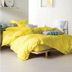 Yellow Elka Quilt Cover Set