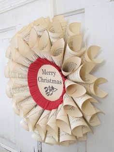 Home For Christmas 1937 Vintage Book Wreath  by SimpleJoysPaperie