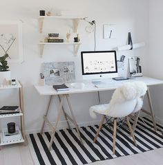 Home Decoration Ideas: Minimal Monochrome Black & White Office Space Inspiration - Simple Workspace Styling (The Design Chaser) Workspace Design, Home Office Design, Home Office Decor, Home Design, Interior Design, Home Decor, Design Ideas, Office Ideas, Office Setup