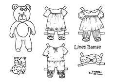 Karen`s Paper Dolls: Line`s Bear to Print and Colour. Lines bamse til at printe og farvelægge.