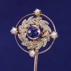 Antique Stickpin 10k Gold Antique Brooch with Seed Pearls, Green Gold and Blue Sapphire Edwardian
