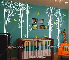 arbre mural Stickers oiseaux nature forêt Vinyl Stickers muraux mural autocollant bébé pépinière autocollant enfants chambre décor mur murale-arbre avec Flying Birds