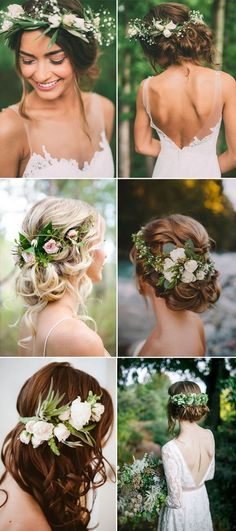 Pantone Color of the Year Greenery Wedding Hairstyles hochzeitsfrisuren photo 2019 - wedding Photo Boho Wedding, Wedding Flowers, Dream Wedding, Wedding Day, Trendy Wedding, Flower Crown Wedding, Rustic Wedding, Romantic Beach Weddings, Wedding Hairstyle With Flowers