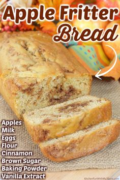 Apple Fritter Bread, Apple Cinnamon Bread, Apple Bread, Apple Fritters, Pumpkin Bread, Apple Recipes Easy, Apple Dessert Recipes, Fall Desserts, Fall Recipes