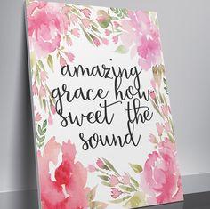 Bible Verse Print Printable Watercolor Wall by TwoBrushesDesigns #printable
