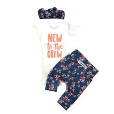"""Hi there! Welcome to Gigi and Max! This handmade outfit is beyond perfect for any sweet baby on the way. Pants and headbandare made out of a super soft stretchy knit. The onesie is professionally screen printed with our """"New to the Crew"""" design. Leggings and onesie are newborn size. Also included is a newborn matching headband. Onesie is also available in short sleeve"""