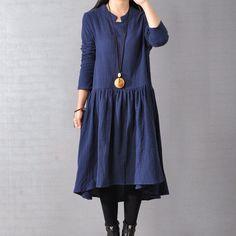 Women Casual Loose Cotton Linen Long Sleeve Dress