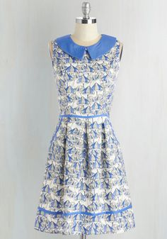 All Eyes on Unique Dress in Mushrooms - Cotton, Woven, Blue, White, Novelty Print, Print, Casual, Mushrooms, Quirky, Fit & Flare, Sleeveless, Variation, Mid-length