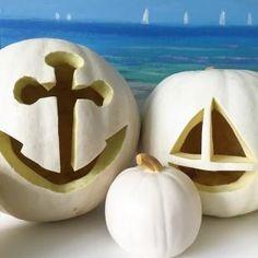 Pumpkin carving idea: Nautical white pumpkins
