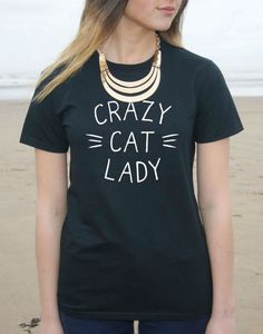 Fly your crazy cat lady flag high with this cool cotton t-shirt!Choose from black or white and sizes S - XXXL. For sizing info see sizing chart image on main product page.