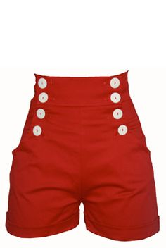Shorts can be used for a Mickey Mouse costume or to pair with a great vintage type shirt for that vintage 1930's to 1940's look..definitely making a statement with these bright red shorts. Would definitely have to rock some red lips with them.