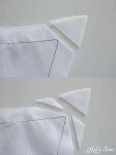 How to clip the corner - How to sew sharp points on collars or other cornered things you will then turn right-side out (pillows, cat ears, etc. Cute Sewing Projects, Sewing Hacks, Sewing Tutorials, Techniques Couture, Sewing Techniques, Sewing Classes For Beginners, Sewing Collars, Sewing Lessons, Collar Designs