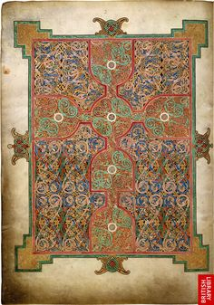 From the Lindisfarne Gospels, created between 698 and 715 AD/CE, Lindisfarne, now at the British Library in London, England.