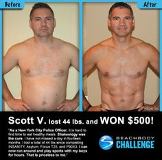 Really great transformation. Scott V. loses 44 lbs...Shakeology got him started. Love seeing some reach their potential! | For more info on Shakeology, click here >>> http://www.thefitclubnetwork.com/beachbody-nutritional-supplements/shakeology/