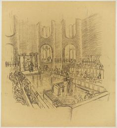 Louis I. Kahn. Mikveh Israel Synagogue, project, Philadelphia, Pennsylvania, Interior perspective. 1963