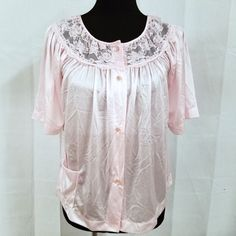 Vintage Gilead Pajama Top Bed Jacket Pink Size Small Nylon Lace Raglan Sleeves #Gilead