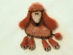 Needle Felted Brooch Dog - Poodle - Orange - Brown - Dog - Wool Animal - Dog Pin by GoldenThreadDesign on Etsy
