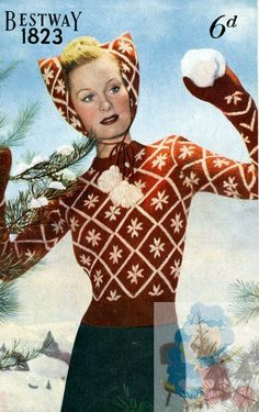 PDF Knitting Pattern for Stylish 1940's Ladies Jumper Mitts & Kitten Hood - Instant Download