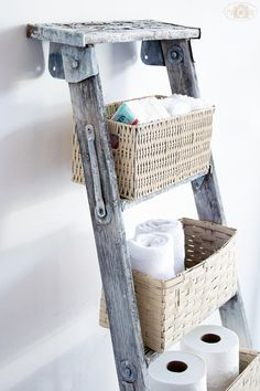 Basket Ladder Storage - lots of great ideas on this blog!