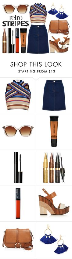 """Retro Stripes"" by latoyacl ❤ liked on Polyvore featuring MSGM, Oasis, Icon Eyewear, Giorgio Armani, SUQQU, Jimmy Choo, Halston Heritage and BaubleBar"