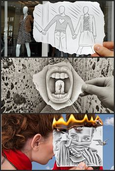 """Ben Heine, artista multidisciplinario belga.. Empezó como dibujante pintor y político, se hizo más conocida en 2011 por su """"Cámara Lápiz""""  Heine dice que """"fue el resultado de una larga exploración gráfica y algunas consecuencias lógicas de su evolución artística"""". En lápiz vs. cámara mezcla dibujo y fotografía, imaginación y realidad, a través de la ilusión y el surrealismo."""