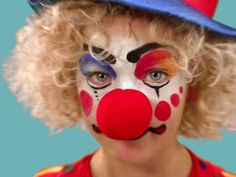 Here's how to use makeup to turn any kid into a happy Halloween clown.
