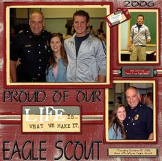 Proud of our Eagle Scout - Scrapbook.com recreate using traditional supplies.