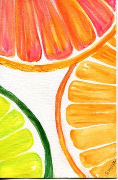 Citrus pomelo de pinturas de acuarelas, Cales rodajas de naranja originales, pintura de acuarela, fruta arte 4 x 6 cocina decoración
