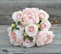 Soft pink wedding bouquet made with pink by Hollysflowershoppe