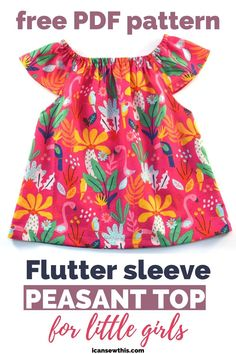 Learn to make a flutter sleeve peasant top for your little girl with this free pattern and tutorial. This top is a lovely basic, and a wonderful addition to any girl's summer wardrobe. You'll be amazed how quickly this peasant top/dress comes together. #fluttersleeve #peasanttop #freepattern #DIY #sewing #girls #toddler