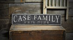 Custom Family Latitude Longitude Sign - Rustic Hand Made Vintage Wooden ENS1000542 by TheLiztonSignShop on Etsy https://www.etsy.com/listing/197541438/custom-family-latitude-longitude-sign
