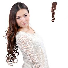 High Quality Synthetic Light Brown Curly Long Clip In Hairpiece Extension