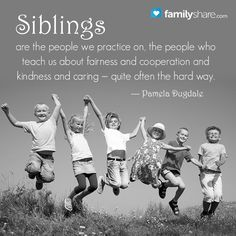 Siblings are the people we practice on, the people who teach us about fairness and cooperation and kindness and caring — quite often the hard way. - Pamela Dugdale