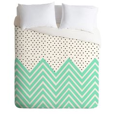 WANT.  Allyson Johnson Minty Chevron And Dots Duvet Cover | DENY Designs Home Accessories