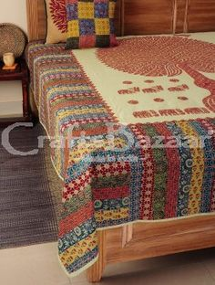 This design gives an extraordinary ethnic touch to your home. Tempting piece of art is a perfect embellishment for your bedroom. It has a Fine quality cotton textile makes this bedcover long-lasting, comfortable, beauty & affordability look. This bedcover fascinates everyone because of its color. So don't waist the time & modernize your bedroom decor with this attractive bedcover.Handmade, Indian Luxury embroidered furnishings for Living Room, Dining Room, Bedrooms, Plagrooms and ...