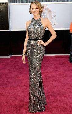 Stacy Keibler.  George Clooney's TV host love turned heads wearing a form-flattering Naeem Khan dress, Giuseppe Zanotti heels and Lorraine Schwartz jewels.  #Oscars 2013 Red Carpet.