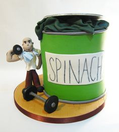 Weight-lifters cake based on Popeye.