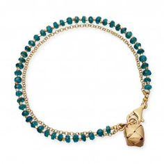 I love this Apatite bracelet in 18 carat yellow gold vermeil with little parcel charm from astleyclarke.com