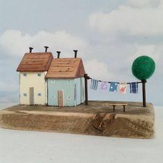 Washing day. #driftwood #shabbydaisies #littlehouse #littlecottage #littlecottage #handpainted #handmade #facebook #tree #washingline #washing #nautical #shabbychic #house