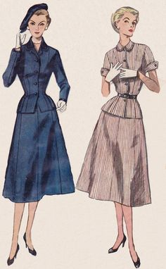 1950's Women's Suit from Simplicity Pattern #4089. Classic Suit. Note the pairing of suits with gloves heels n hats. Classy