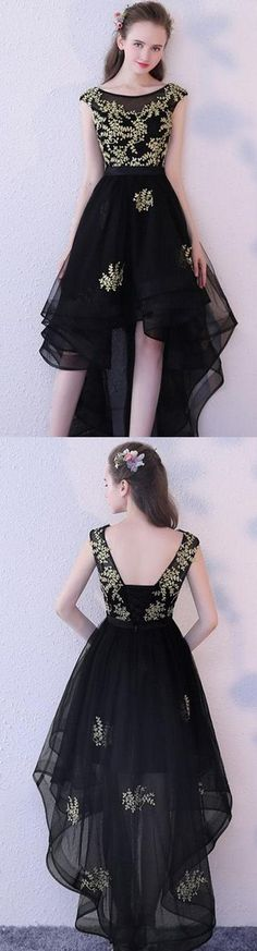 High low prom dress, cute black tulle prom dress for teens #prom #dress #homecomingdress #promdress