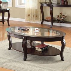 Acme 00450 Riley Walnut Oval Coffee Table With Glass Top