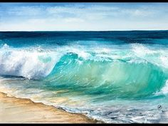 Maria Raczynska : online class - Paint Ocean Waves in Watercolours Watercolor Painting Techniques, Watercolor Landscape Paintings, Seascape Paintings, Beach Paintings, Ocean Art, Ocean Waves, Watercolor Ocean, Beach Scenes, Beach Art