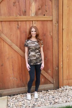 We are loving our camo tee and you will too!!!    Sizing:    Small 0-4    Medium 6-8    Large 10-12    Model is wearing a small.   Shop this product here: http://spreesy.com/pinkpineappleclothingcompany/129   Shop all of our products at http://spreesy.com/pinkpineappleclothingcompany      Pinterest selling powered by Spreesy.com